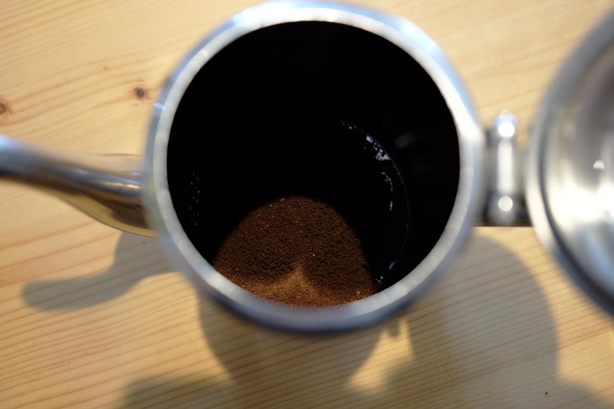 コーヒー粉を入れたコーヒーポット
