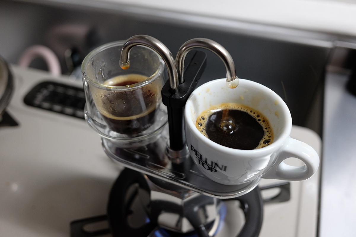ミニエキスプレスでコーヒーを抽出完了