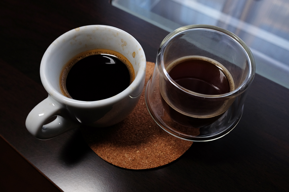 ミニエキスプレスで抽出したコーヒー