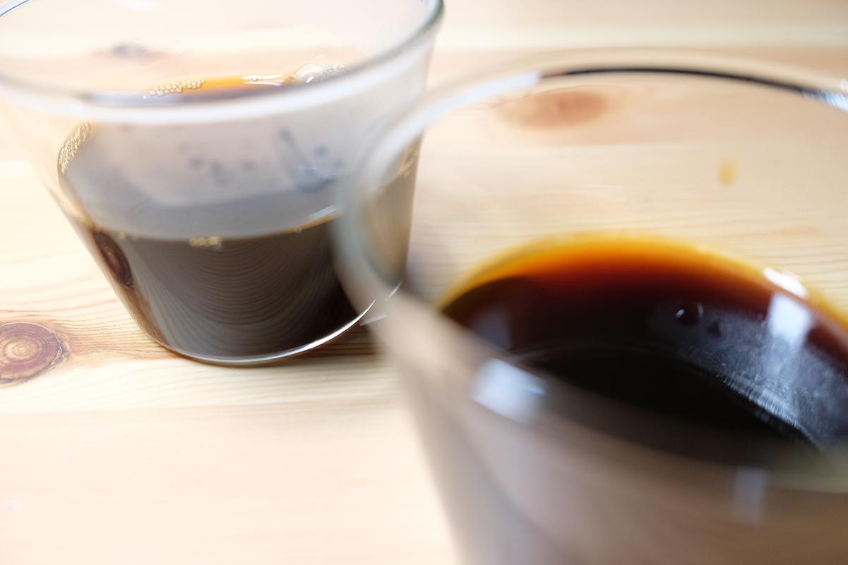 冷蔵庫に入れる前のコーヒ寒天