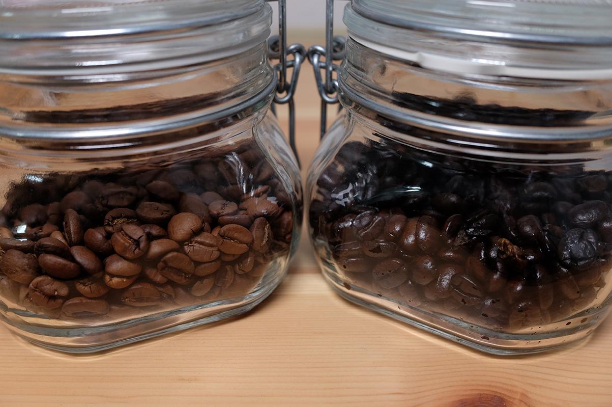 異なる焙煎度のコーヒー豆