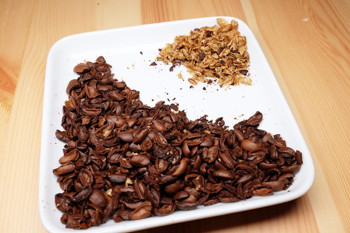 シルバースキンを除去したコーヒー豆